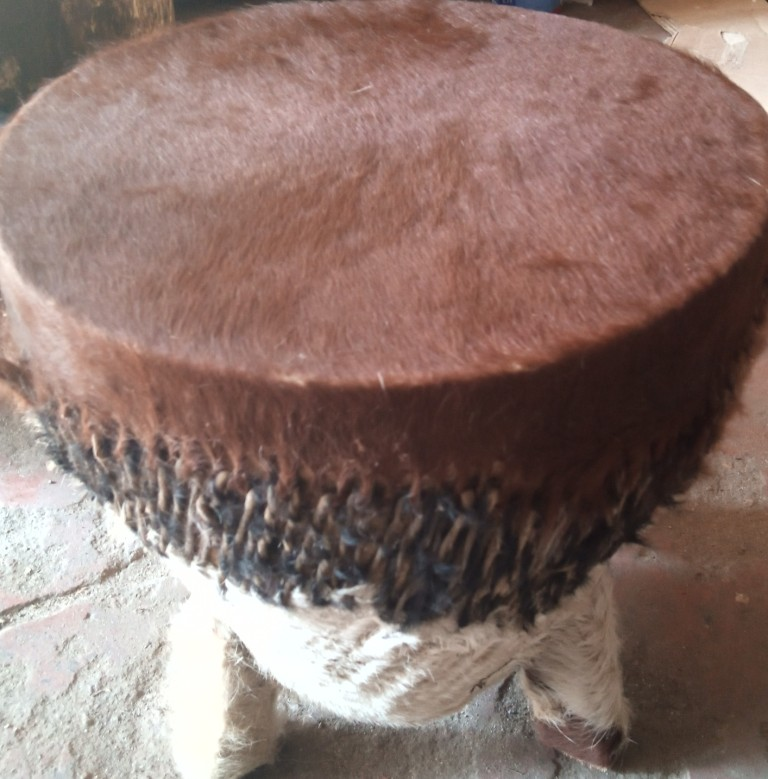 leather fur stool